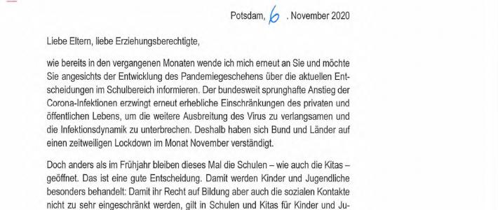 Aktueller Elternbrief der Bildungsministerin B. Ernst