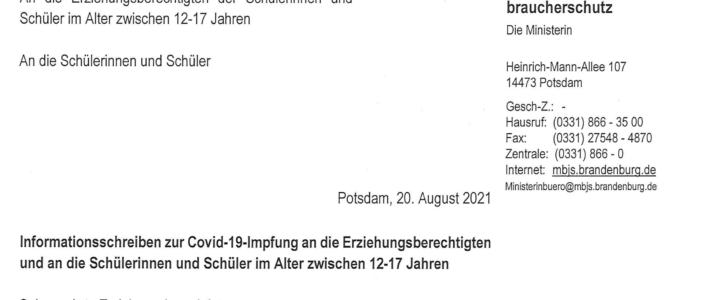 Elternschreiben 08.21 vom Ministerium